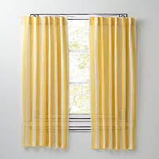 Striped Yellow Curtains Line Up Striped Linen Curtains Yellow The Land Of Nod