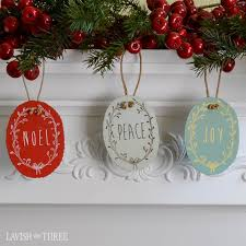 cottage shabby tin metal ornament set noel peace and