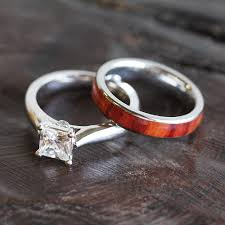wooden wedding ring sets wood bridal ring set moissanite engagement ring with wood wedding