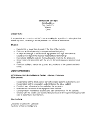 exle of rn resume nicu resume exle objective skills and work experience
