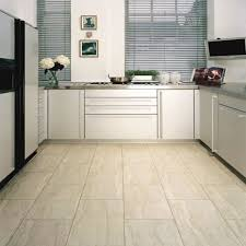 elegant white color resilient porcelain tile kitchen floor