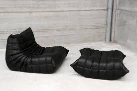 Ottoman Black Leather Vintage One Seater Togo Black Leather Sofa Ottoman By Michel