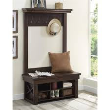 Front Hall Bench by Ameriwood Furniture Wildwood Wood Veneer Entryway Hall Tree With