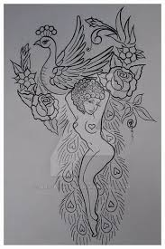 traditional peacock pinup tattoo stencil wip by art by vixen on