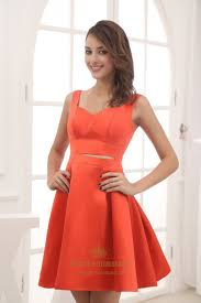 orange red cocktail dresses short satin party dresses holiday