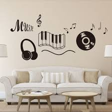 Music Note Wall Decor Classic Record Earphone Piano Keyboard Music Note Wall Art Mural