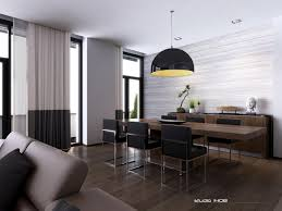 small modern dining table dining room kitchen interior excellent parquet flooring also black