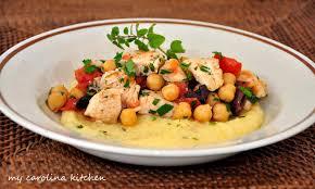 my carolina kitchen mediterranean chicken stew on polenta