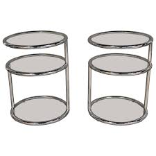 milo baughman style chrome and glass swivel top tables at 1stdibs