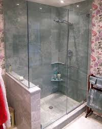 bed u0026 bath towel rack with wallpaper and frameless glass shower