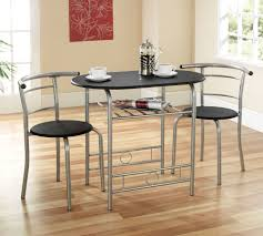 Space Saver Dining Table And Chair Set Modern Black Top Metal Dining Table With Silver Steel Base Plus