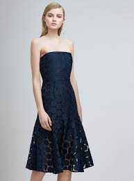 keepsake dresses keepsake spectrum strapless fitted lace midi dress in navy