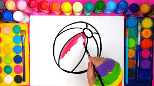 learn painting and coloring for kids and paint this beach ball and