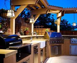 outdoor kitchen lighting ideas decorations luxury modern outdoor kitchen with hardwood cabinet