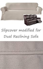 Sure Fit Dual Reclining Sofa Slipcover by Dual Reclining Sofa Slipcover Farmhouse Twill Taupe Adapted For