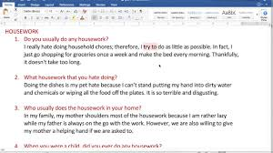 speaking part 1 housework advanced youtube