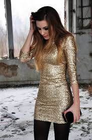 love this gold dress with the black tights for a cold christmas or
