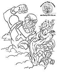 jack beanstalk coloring jack climbs beanstalk