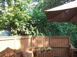 privacy rail benches and planters for wood deck in kirkwood mo