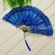 lace fans royal blue organza and lace bridal folding fan with pendant