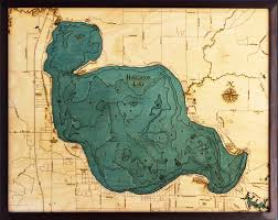 Map Of Michigan Lakes Custom Wood Charts Of Houghton Lake From Carved Lake Art Nautical