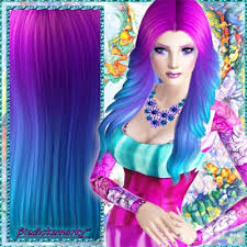 sims 4 blue hair rainbow hair no 4 by bludickamarky the exchange community the