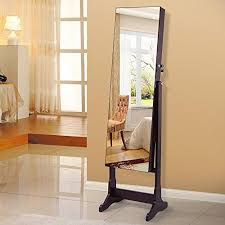 full length mirror with led lights songmics lockable jewelry cabinet standing jewelry armoire with led