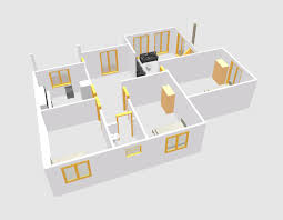 three bed room single story 3d house plan downloaf with dwg cad file