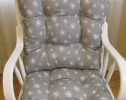 White Rocking Chair Nursery Custom Made Glider Cushion Set In Grey And White Dandelion Print