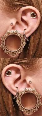 heart cartilage earring cheroka tribal brass ear plugs unique ear piercings ear