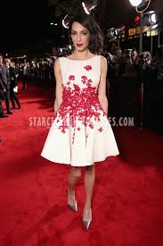 amal clooney hail ceaser premiere white short red floral cocktail