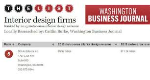 Washington Dc Interior Design Firms by Dbi Ranks Among Top 5 Interior Design Firms In Dc Metro Area Dbi