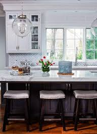 island with blue striped saddle counter stools transitional