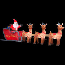 Lighted Santa And Reindeer Outdoor by Amazon Com 16 Ft Santa Sleigh Reindeer Christmas Inflatable