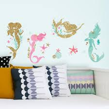 roommates mermaid peel and stick wall decals toys