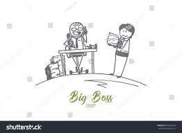 stick figure big boss concept sketch stock vector 655282594