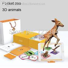 2018 wholesale 96 kinds 3d animals cards ar stereo bilingual 3 6