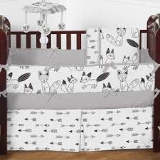 arrow print fitted crib sheet for black and white fox collection