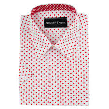modern tailor d42 white and red dots dress shirts
