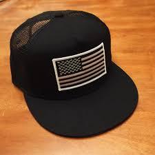 American Flag Visor Black And White American Flag Black Trucker Hat Snapback Flat