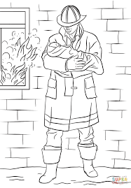 firefighter saves baby from fire coloring page free printable