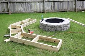 Backyard Fire Pits For Sale - this diy wooden bench takes the backyard fire pit to the next level