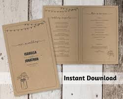 kraft paper wedding programs printable wedding program template rustic jar on kraft