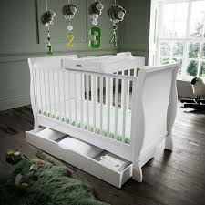 White Sleigh Cot Bed Izziwotnot Bailey Sleigh Cotbed White Kiddies Kingdom