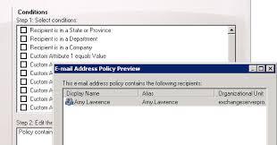 exchange server email address policies