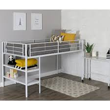 White Metal Bunk Bed Metal Bed Frame Low Loft Bed With Desk Shelves