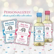 elephant baby shower mini wine bottle label hostess gift