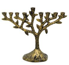 menorah tree of hanukkah chanukah menorah tree of textured brass vintage