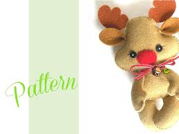 Diy Deer Christmas Decorations by Reindeer Christmas Pdf Ornament Pattern Felt Christmas