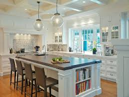 Kitchen Island With Bookshelf Kitchens Coffered Ceiling Clear Glass Pendants White Kitchen